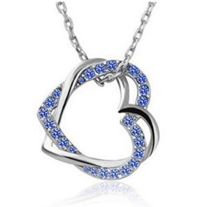 Jewelry - Double Heart Blue Crystal Necklace 18KT WG Plated